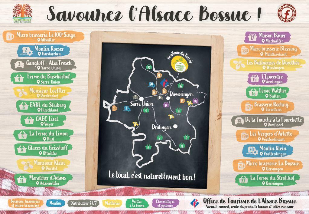 Carte des artisans et producteurs de l'Alsace Bossue
